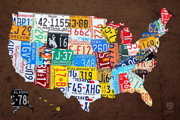 Map Of United States Mixed Media - License Plate Map Of The Usa On Brown Wood by Design Turnpike