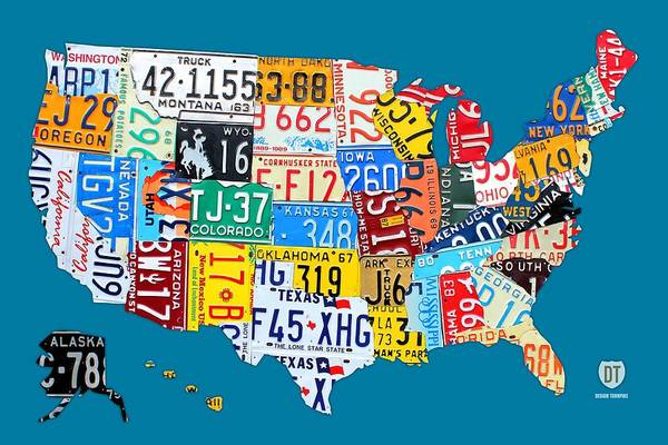 Map Of United States Mixed Media - License Plate Map Of The Usa On Royal Blue by Design Turnpike