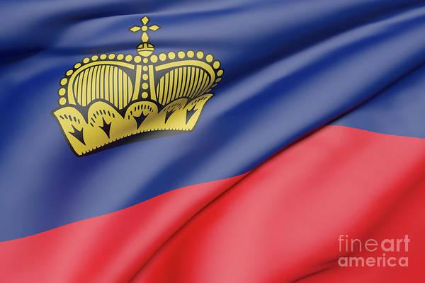 Liechtenstein Digital Art - Liechtenstein Flag Waving by Enrique Ramos Lopez