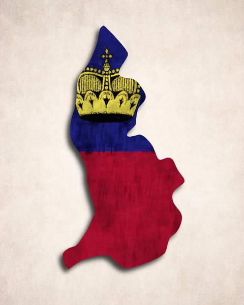 Liechtenstein Digital Art - Liechtenstein Map Art With Flag Design by World Art Prints And Designs