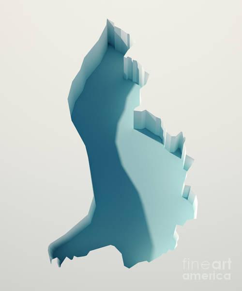 Liechtenstein Digital Art - Liechtenstein Simple Intrusion Map 3d Render by Frank Ramspott