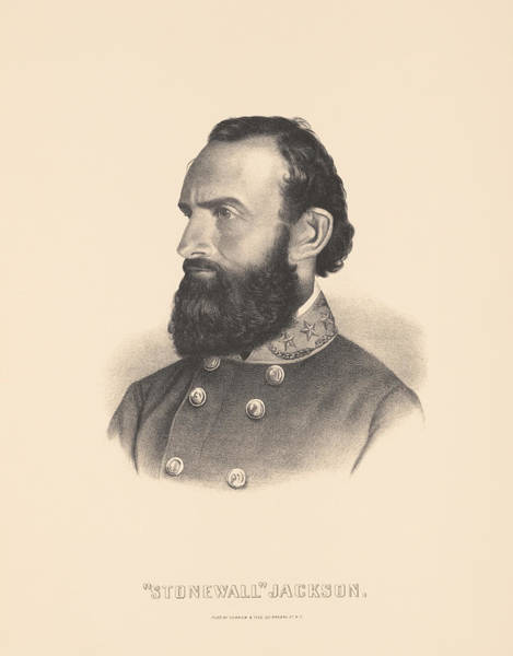 The War Of Northern Aggression Drawing - General Stonewall Jackson Portrait - Eight by War Is Hell Store