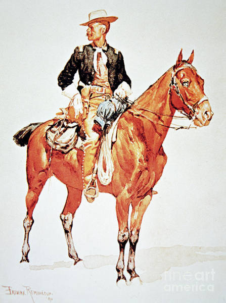 Equestrian Drawing - Lieutenant S C Robertson, Chief Of The Crow Scouts by Frederic Remington