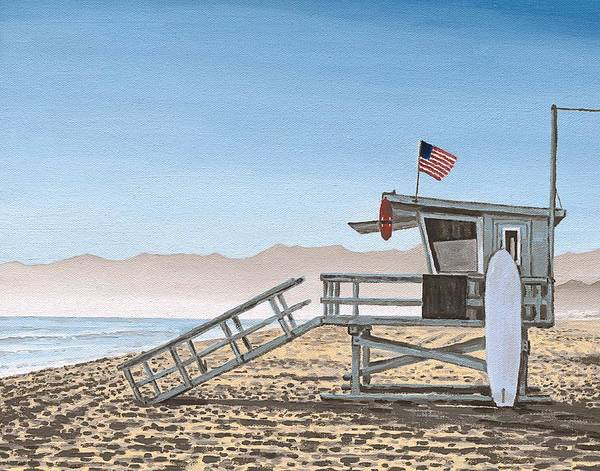 Guard Tower Wall Art - Painting - Life Guard Tower by Andrew Palmer
