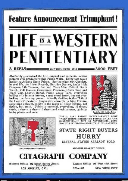 Photograph - Life In A Western Penitentiary Moving Picture World Trade Ad  Dec 27 1913 Citagraph Company 1914 Col by David Lee Guss