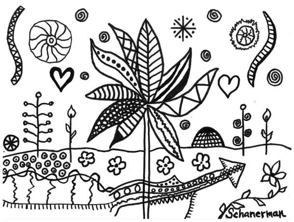 Drawing - Life In Black And White by Susan Schanerman