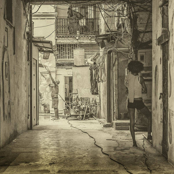 Photograph - Life In The Alleyway Sepia by Robin Zygelman