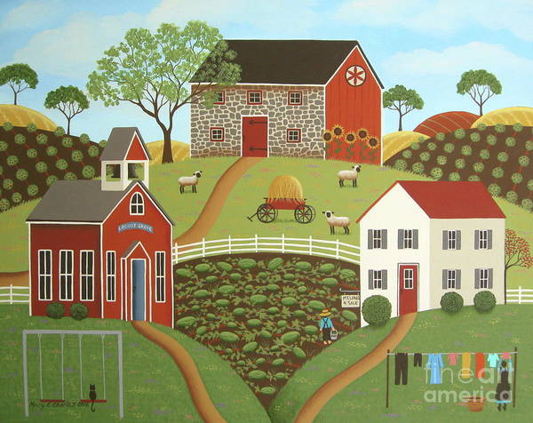 Clothesline Painting - Life In The Country, II by Mary Charles