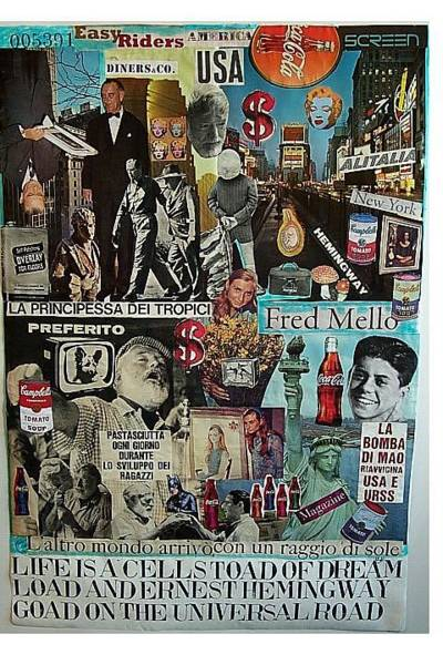 Alitalia Wall Art - Mixed Media - Life Is A Cell Toad Of Dream Load And Ernest Hemingway Goad On The Universal Road by Francesco Martin