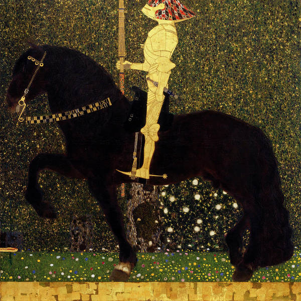 Wall Art - Painting - Life Is A Struggle, Golden Rider by Gustav Klimt