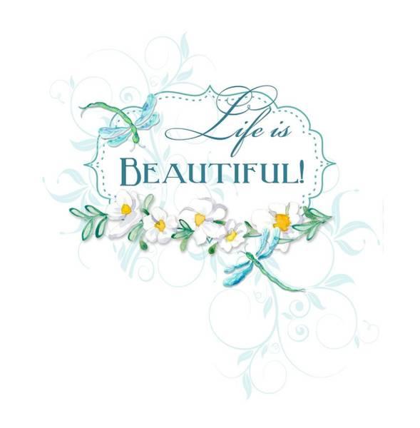 Elegant Mixed Media - Life Is Beautiful - Dragonflies N Daisies W Leaf Swirls N Dots by Audrey Jeanne Roberts