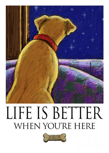 Yellow Lab Mixed Media - Life Is Better When You're Here Greeting Card by Kathleen Harte Gilsenan