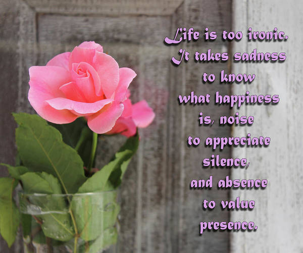 What Is Life Digital Art - Life Is Too Ironic Motivational Quote And Rose by Daniel Ghioldi