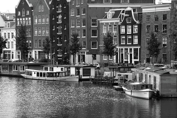 Houseboat Photograph - Amsterdam Canal Scene, The Netherlands by Aidan Moran