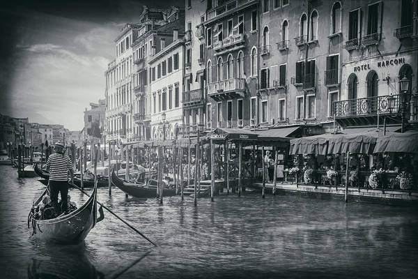 Italia Photograph - Life On The Grand Canal In Black And White  by Carol Japp