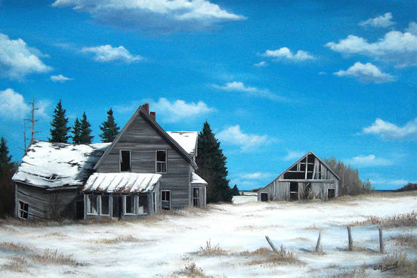 Old Barns Wall Art - Painting - Life Once Lived Here by Marc Doiron