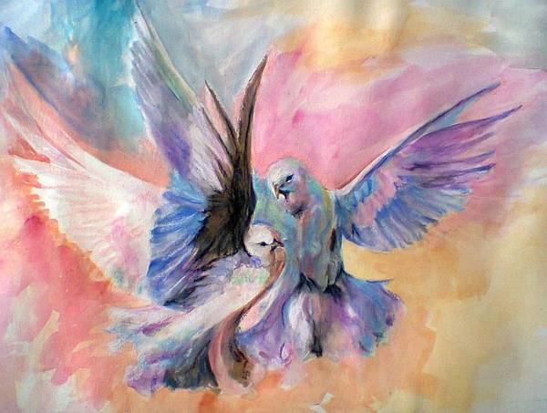 Bird Watercolor Mixed Media - Life Partners by Khalid Saeed