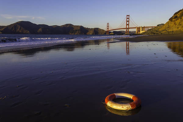 Golden Circle Photograph - Life Ring And Golden Gate Bridge by Garry Gay