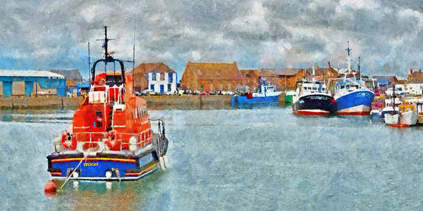 Digital Art - Lifeboat At The Ready In Howth Ireland by Digital Photographic Arts