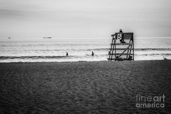 Photograph - Lifeguard Number 5 Black And White by Eleanor Abramson