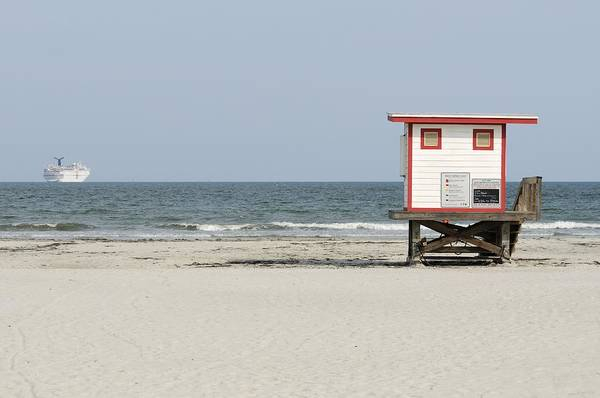 Photograph - Lifeguard Stand And Cruise Ship by Bradford Martin