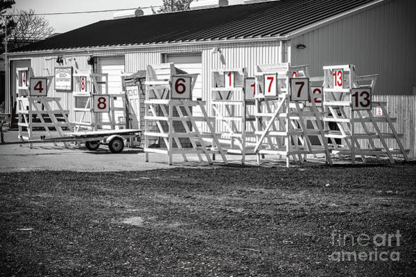 Wall Art - Photograph - Lifeguard Stands - Black And White by Colleen Kammerer