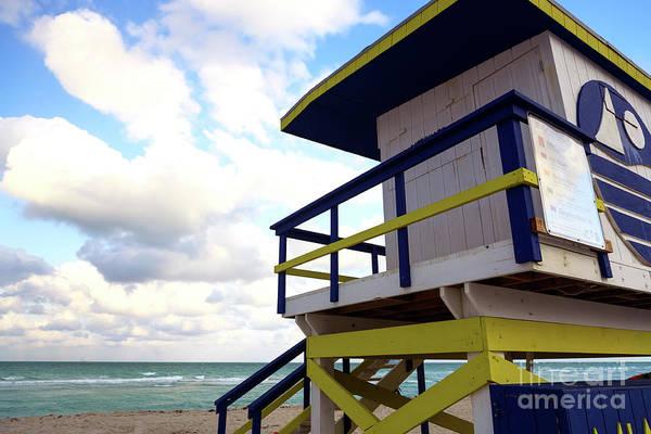 Lifeguard View On South Beach Art Print by John Rizzuto