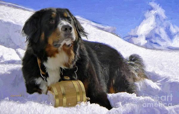 Park Bench Mixed Media - Lifesaver Dog by Garland Johnson