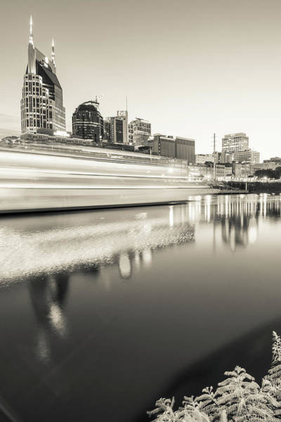 Photograph - Light Along The Cumberland River - Nashville Tennessee Skyline Sepia by Gregory Ballos