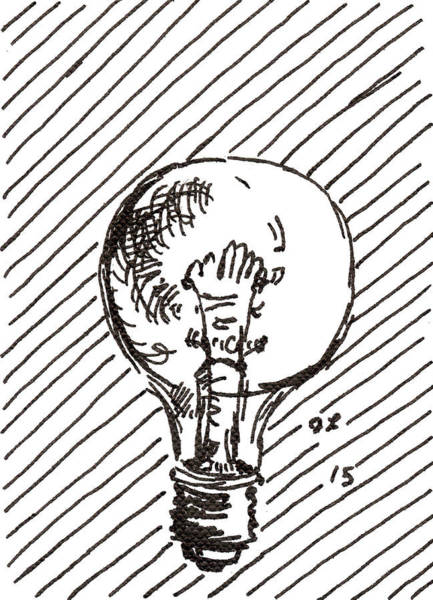Drawing - Light Bulb 1 2015 - Aceo by Joseph A Langley