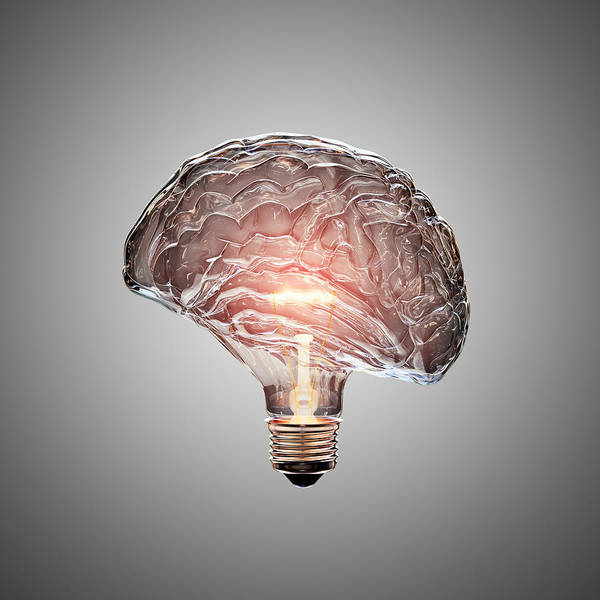 Mounted Photograph - Light Bulb Brain by Johan Swanepoel