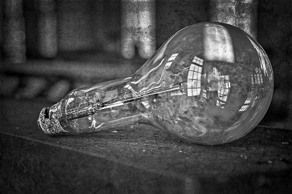 Photograph - Light Bulb Bw by Susan Candelario