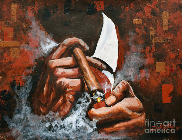 Cigar Painting - Light Em Up by The Art of DionJa'Y