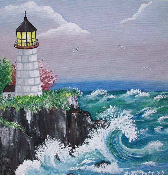 Lula Wall Art - Painting - Light House Cliff by Lula Becraft