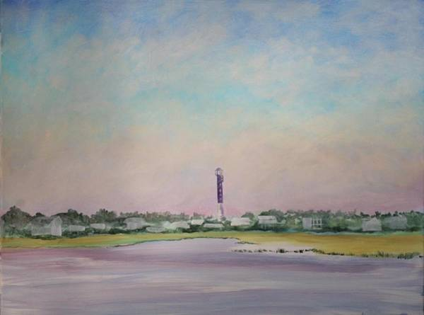 Light House On Causeway Art Print