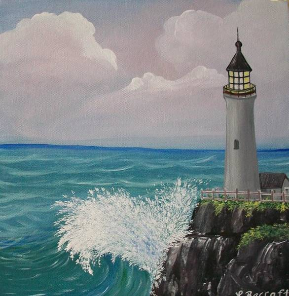Lula Wall Art - Painting - Light House Waves by Lula Becraft