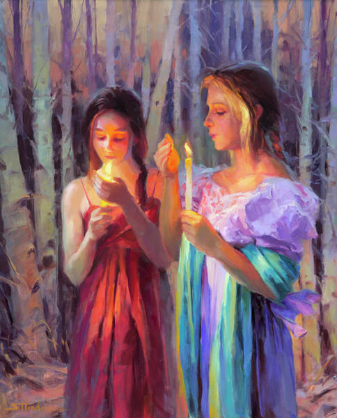 Darkness Wall Art - Painting - Light In The Forest by Steve Henderson