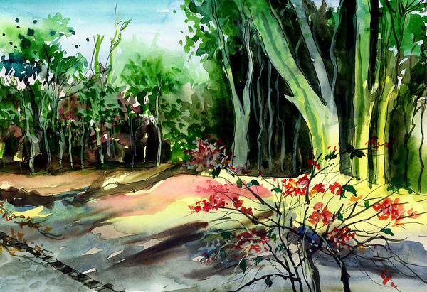 Painting - Light In The Woods by Anil Nene