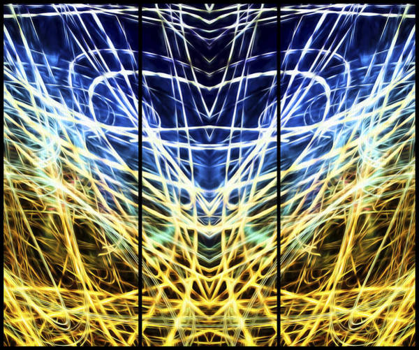 Photograph - Light Painting Abstract Triptych #1  by John Williams
