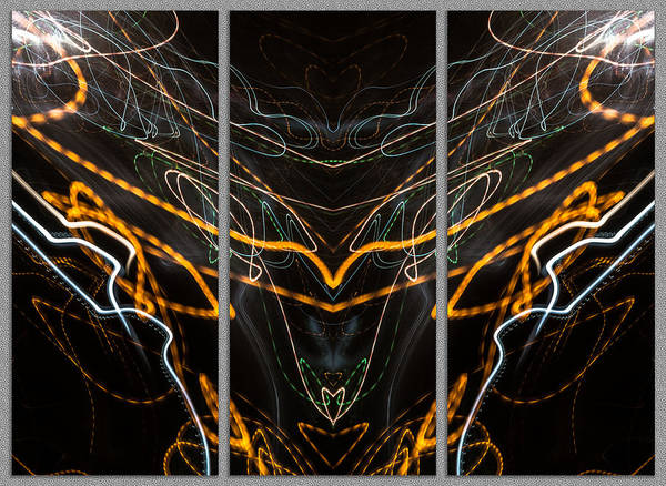 Photograph - Light Painting Abstract Triptych #2 by John Williams