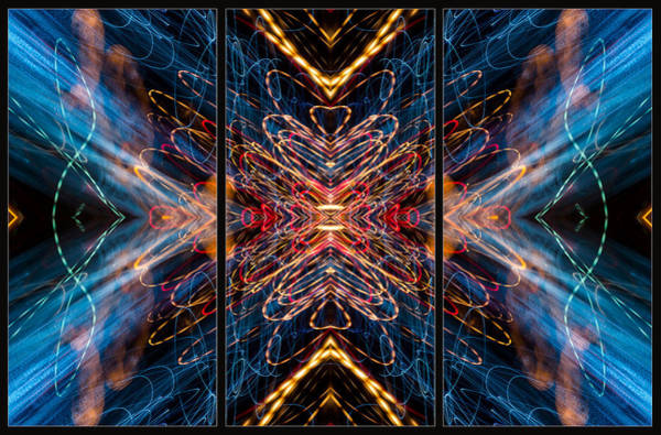 Photograph - Light Painting Abstract Triptych #5 by John Williams