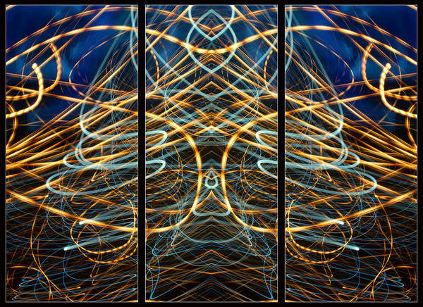 Photograph - Light Painting Abstract Triptych #6 by John Williams