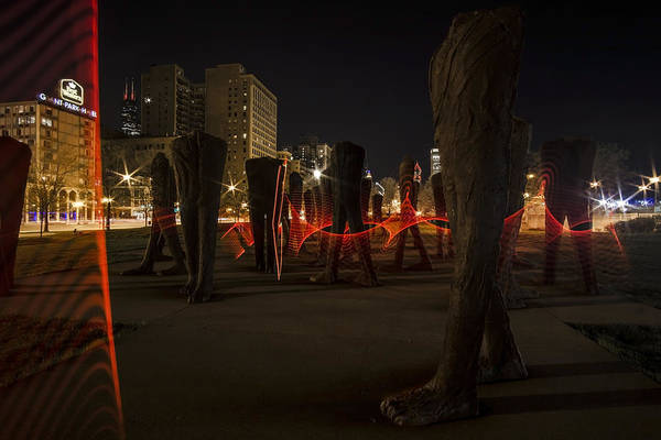 Photograph - Light Painting Around Chicago's Agora by Sven Brogren
