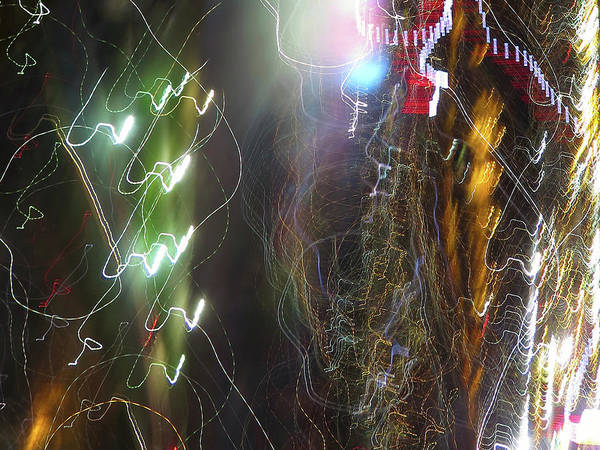 Photograph - Light Paintings - No 3a - Tesla's Workshop by Kathy Corday