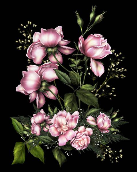 Fleur Digital Art - Light Pink Roses On Black by Isabella Howard