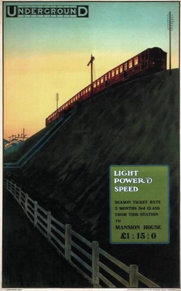 Speed Mixed Media - Light Power Speed - London Underground, London Metro - Retro Travel Poster - Vintage Poster by Studio Grafiikka