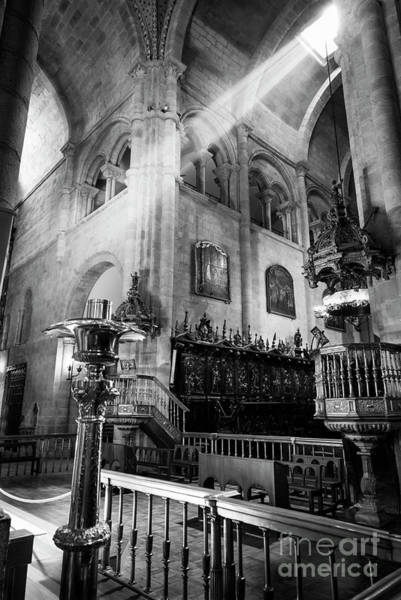 Wall Art - Photograph - Light Ray In Lugo Cathedral Bw by RicardMN Photography