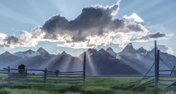 Teton National Park Digital Art - Light Rays In The Tetons II by Jon Glaser