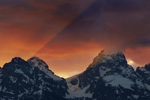 Wall Art - Photograph - Light Rays Through The Tetons by Mike Berenson