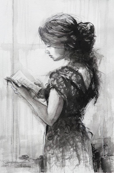 Beautiful Woman Wall Art - Painting - Light Reading  by Steve Henderson